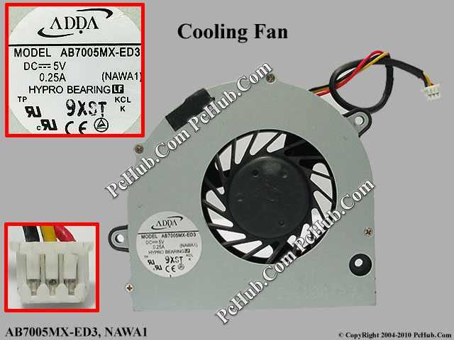 5V 0.25A, Bare fan