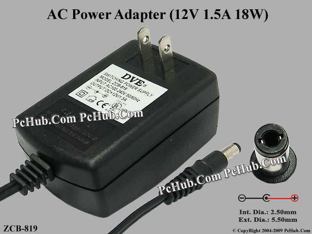 12V 1.5A 18W, Barrel 5.5/2.5mm, US 2-Pin Plug