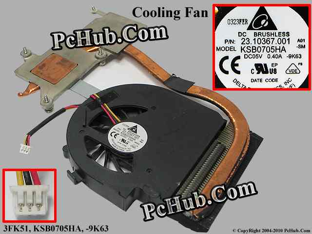 DC5V 0.40A heatsink fan, 60.4EK24.001