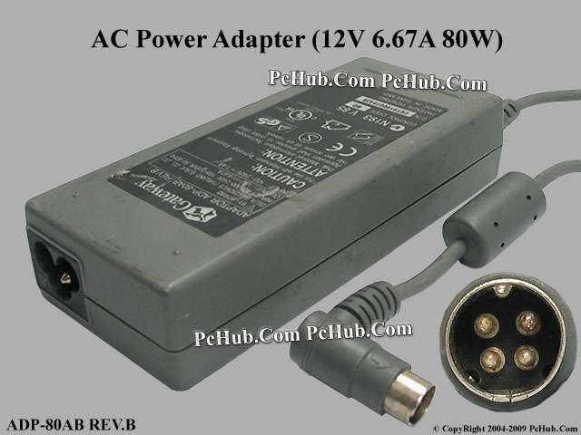 12V 6.67A 80W, 4-pin DIN Connector, 3-prong