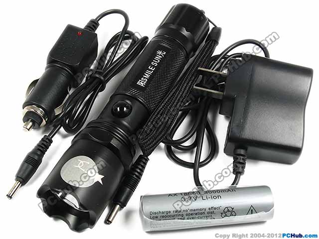 5W LED Flashlight. Charger & rechargeable battery