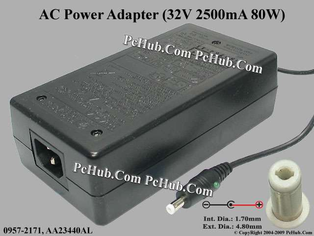 32V 2500mA 80W, Round Barrel(1.7/4.8mm), (IEC C14)