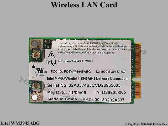 pilote intel pro wireless 3945abg network connection
