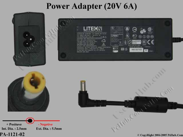 20V 6A 120W, Barrel 5.5/2.5mm, 3-Prong