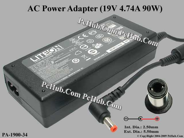 19V 4.74A 90W, Round Barrel (2.5/5.5mm), 2-prong