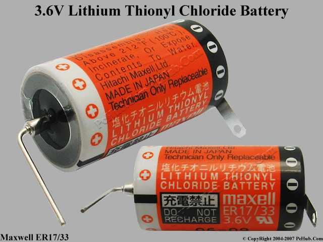 3.6V Lithium Thionyl Chloride Battery