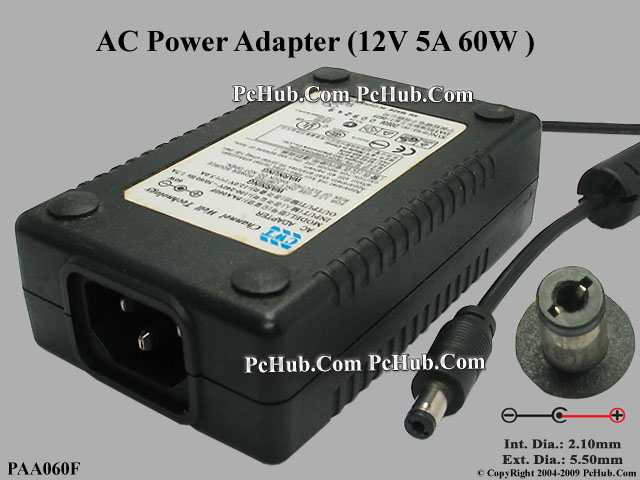 12V 5A 60W, Barrel 5.5/2.1mm, IEC C14