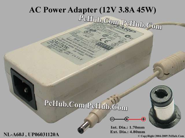 12V 3.8A 45W, Round Barrel (1.7/4.8mm), (IEC C14)